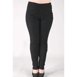 Fashionable High-Waisted Stretchy Plus Size Pants For Women - Black - Xl