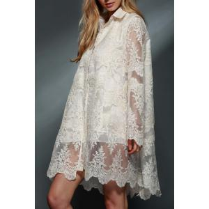 Ladylike Polo Collar See-Through Long Sleeve Lace Dress For Women