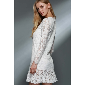 Lace Mini Long Sleeve Wedding Dress - WHITE M