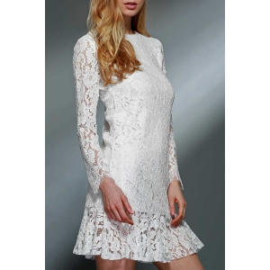Lace Mini Long Sleeve Wedding Dress