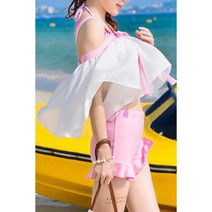 Sweet Halter Neck Flounced Women's Three Piece Swimsuit -