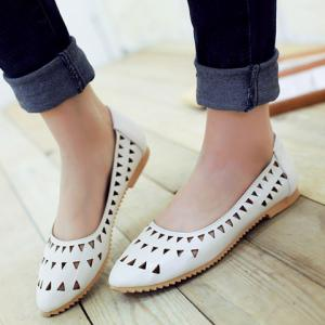 Concise Hollow Out and Solid Colour Design Flat Shoes For Women - WHITE 38