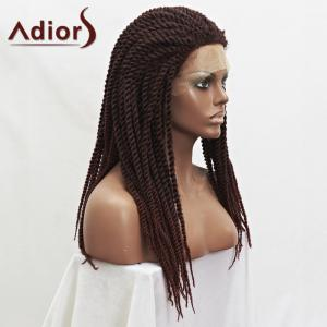 Adiors Dark Auburn Mixed Synthetic Fluffy Long Handmade Braided Lace Front Wig -