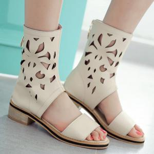 Chunky Heel Hollow Out Mid Calf Sandals -