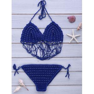 Halter Crochet Beading Bikini Set - BLUE ONE SIZE(FIT SIZE XS TO M)