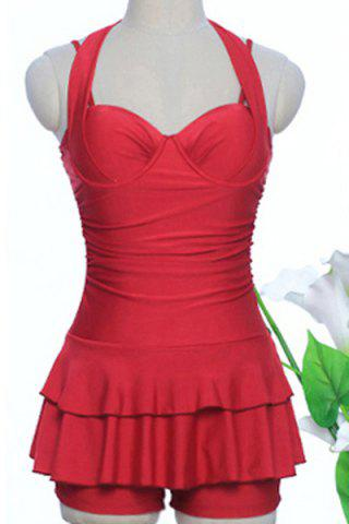 Sale Sweetheart Neck Pure Color Halter Tankini Swimwear - XL RED Mobile