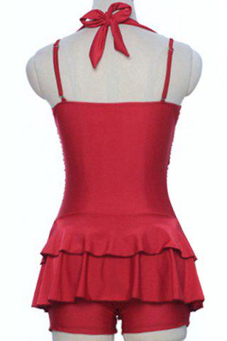 Online Sweetheart Neck Pure Color Halter Tankini Swimwear - XL RED Mobile
