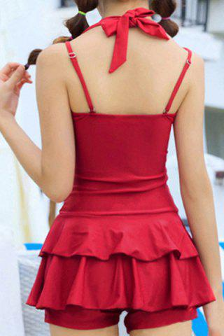 Best Sweetheart Neck Pure Color Halter Tankini Swimwear - L RED Mobile