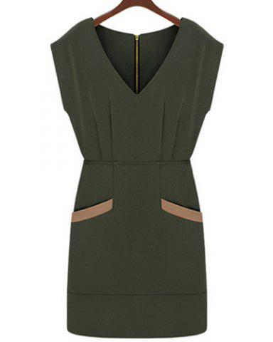 Hot Stylish V-Neck Cap Sleeve Spliced Bodycon Dress For Women