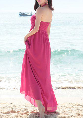 Trendy Halter Neck Sleeveless Chiffon Dress - ONE SIZE(FIT SIZE XS TO M) ROSE Mobile
