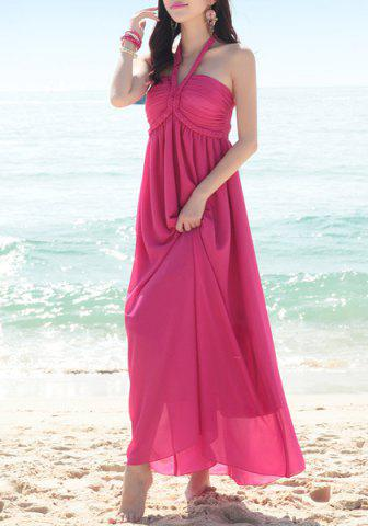 New Halter Neck Sleeveless Chiffon Dress - ONE SIZE(FIT SIZE XS TO M) ROSE Mobile