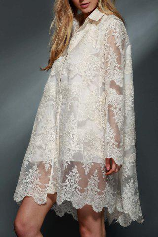 Ladylike Polo Collar See-Through Long Sleeve Lace Dress For Women - White - M