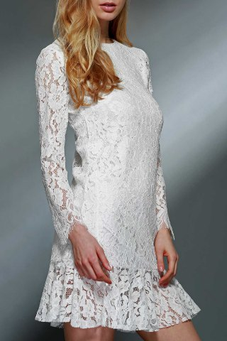 Outfits Lace Mini Long Sleeve Wedding Dress WHITE M