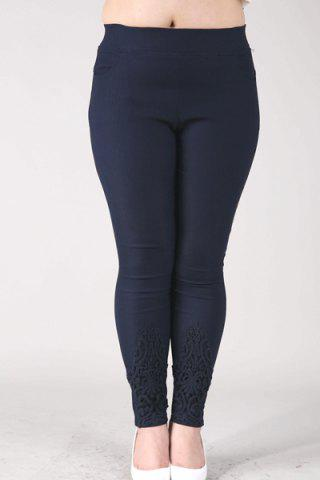 Sale Casual High-Waisted Lace Embellished Plus Size Pants For Women - 6XL NAVY BLUE Mobile