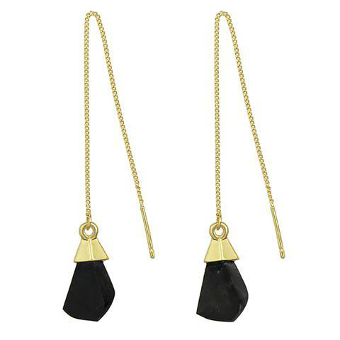 Unique Pair of Vintage Faux Gem Geometric Drop Earrings BLACK