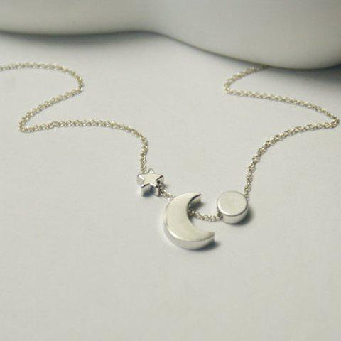 Chic Alloy Star Moon Pendant Necklace