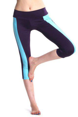 Discount Active Elastic Waist Color Block Bodycon Women's Cropped Yoga Pants
