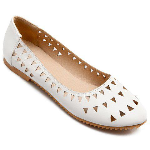 Chic Concise Hollow Out and Solid Colour Design Flat Shoes For Women - 39 WHITE Mobile