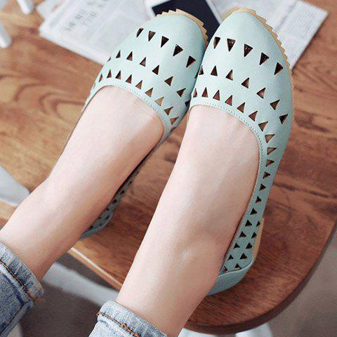 Fashion Concise Hollow Out and Solid Colour Design Flat Shoes For Women - 37 LIGHT BLUE Mobile