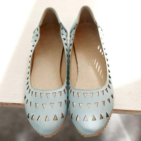 Outfits Concise Hollow Out and Solid Colour Design Flat Shoes For Women - 37 LIGHT BLUE Mobile