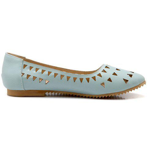 New Concise Hollow Out and Solid Colour Design Flat Shoes For Women - 37 LIGHT BLUE Mobile