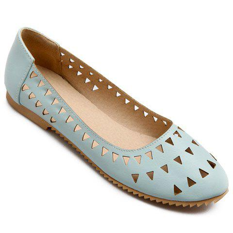 Unique Concise Hollow Out and Solid Colour Design Flat Shoes For Women - 37 LIGHT BLUE Mobile
