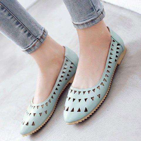 Cheap Concise Hollow Out and Solid Colour Design Flat Shoes For Women - 37 LIGHT BLUE Mobile