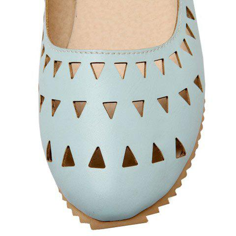 Shop Concise Hollow Out and Solid Colour Design Flat Shoes For Women - 37 LIGHT BLUE Mobile