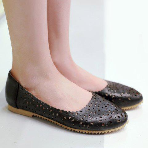 Trendy Casual Round Toe and Hollow Out Design Flat Shoes For Women - 35 BLACK Mobile