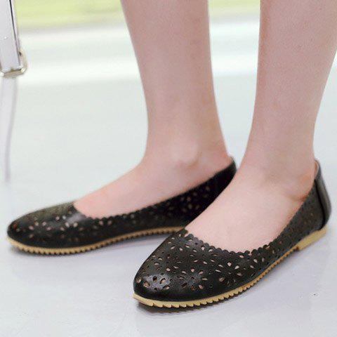 Shop Casual Round Toe and Hollow Out Design Flat Shoes For Women - 35 BLACK Mobile