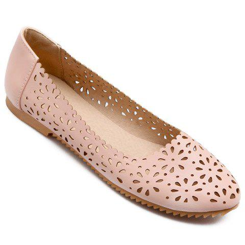 New Casual Round Toe and Hollow Out Design Flat Shoes For Women - 38 PINK Mobile