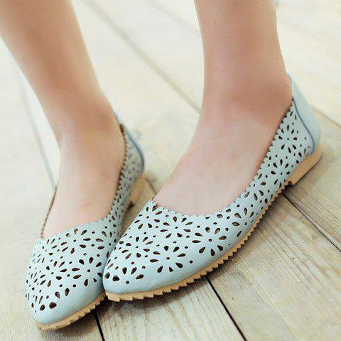Latest Casual Round Toe and Hollow Out Design Flat Shoes For Women - 34 LIGHT BLUE Mobile