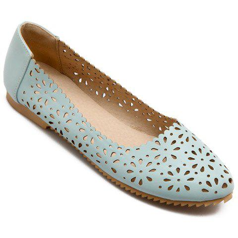 Unique Casual Round Toe and Hollow Out Design Flat Shoes For Women - 34 LIGHT BLUE Mobile