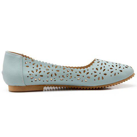 Fancy Casual Round Toe and Hollow Out Design Flat Shoes For Women - 34 LIGHT BLUE Mobile