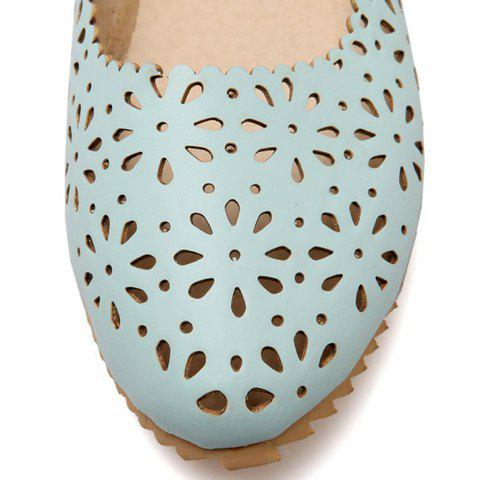 Shop Casual Round Toe and Hollow Out Design Flat Shoes For Women - 34 LIGHT BLUE Mobile