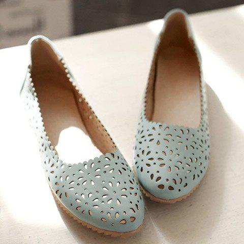 Fancy Casual Round Toe and Hollow Out Design Flat Shoes For Women - 36 LIGHT BLUE Mobile