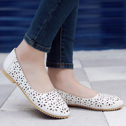Affordable Casual Round Toe and Hollow Out Design Flat Shoes For Women - 38 WHITE Mobile
