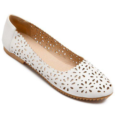 Discount Casual Round Toe and Hollow Out Design Flat Shoes For Women WHITE 38