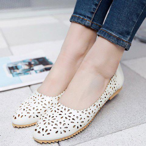 Trendy Casual Round Toe and Hollow Out Design Flat Shoes For Women - 37 WHITE Mobile