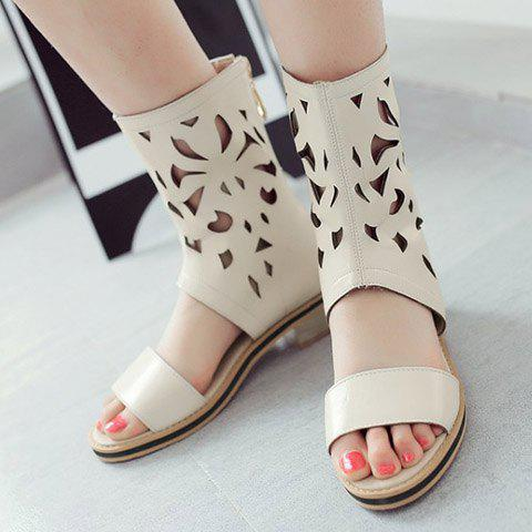 Unique Chunky Heel Hollow Out Mid Calf Sandals - 35 OFF-WHITE Mobile