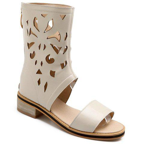 Store Chunky Heel Hollow Out Mid Calf Sandals