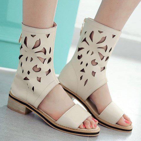 Shop Chunky Heel Hollow Out Mid Calf Sandals - 35 OFF-WHITE Mobile