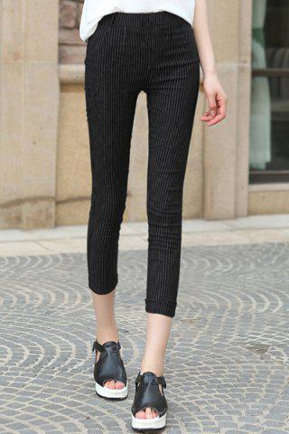 Outfit Chic High-Waisted Stretchy Striped Button Design Women's Ankle Pants