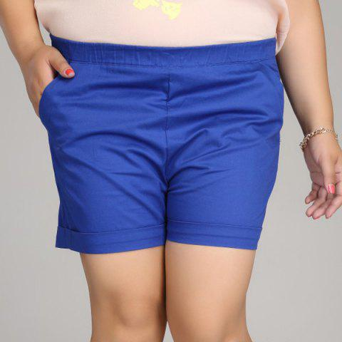 Online Casual Solid Color Plus Size Shorts For Women
