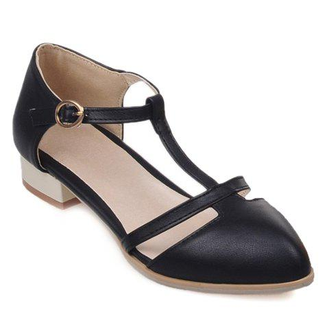 Shops T Strap Cut Out Ballet Flats BLACK 36