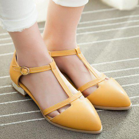 Chic T Strap Cut Out Ballet Flats - 36 YELLOW Mobile