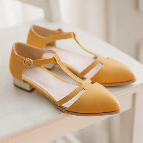 Latest T Strap Cut Out Ballet Flats - 36 YELLOW Mobile