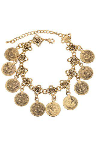 Fashion Vintage Alloy Coin Tassel Bracelet GOLDEN