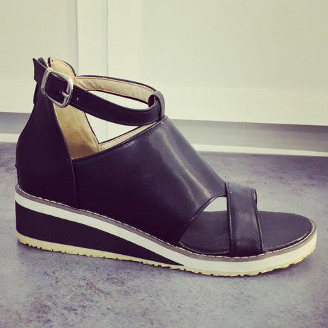 Store Fashion Wedge Heel and PU Leather Design Sandals For Women - 38 BLACK Mobile