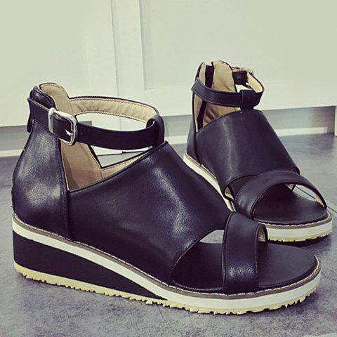 Fancy Fashion Wedge Heel and PU Leather Design Sandals For Women - 38 BLACK Mobile